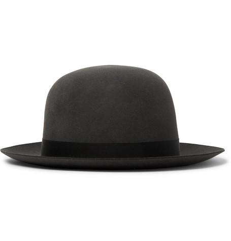 ANDERSON & SHEPPARD Grosgrain-Trimmed Wool-Felt Trilby Hat in Dark