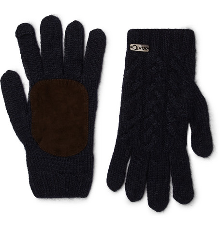 ANDERSON & SHEPPARD Suede-Panelled Merino Wool-Blend Gloves in Navy