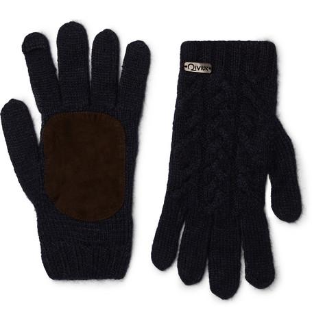 Suede-panelled Merino Wool-blend Gloves