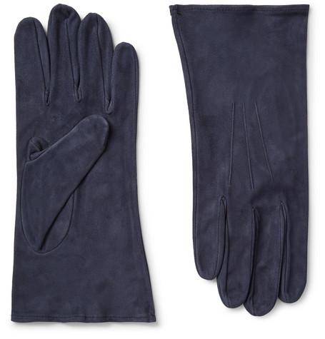 ANDERSON & SHEPPARD Suede Gloves in Navy