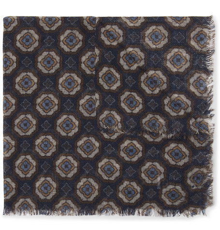 ANDERSON & SHEPPARD Printed Wool And Yak-Blend Pocket Square in Navy