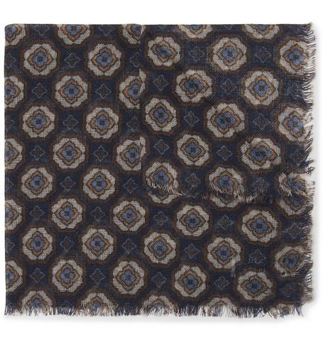Printed Wool And Yak-blend Pocket Square