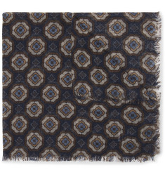Anderson & Sheppard Printed Wool and Yak-Blend Pocket Square