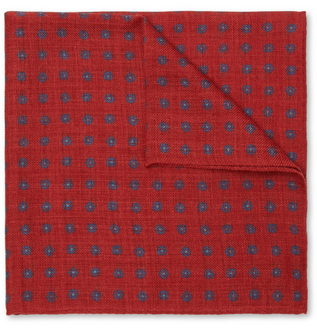 ANDERSON & SHEPPARD Floral-Print Wool Pocket Square in Claret