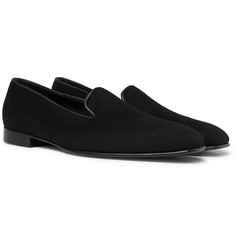 Anderson & Sheppard - + George Cleverley Leather-Trimmed Cashmere Slippers