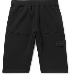 Stone Island Wide-Leg Fleece-Back Wool Shorts