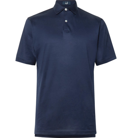 DUNHILL LINKS Cotton-Jersey Golf Polo Shirt in Navy
