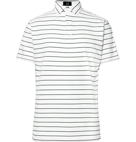 DUNHILL LINKS Lonsdale Striped Tech-Jersey Golf Polo Shirt in White