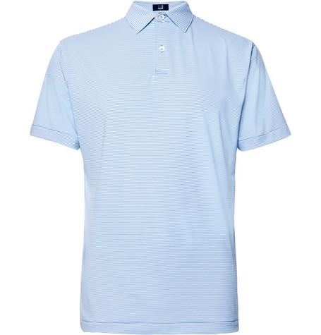 DUNHILL LINKS Striped Tech-Jersey Golf Polo Shirt in Light Blue