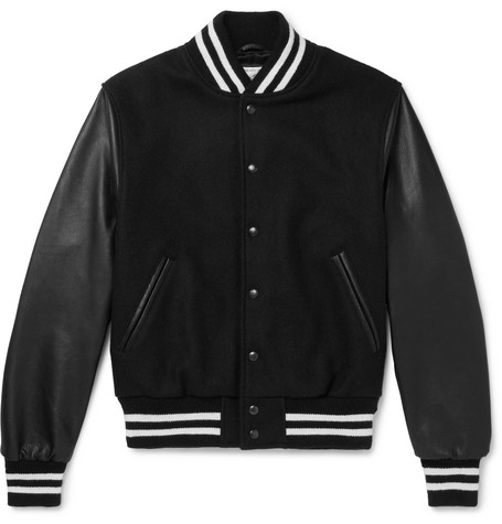 GOLDEN BEAR Virgin Wool-Blend And Leather Bomber Jacket - Black
