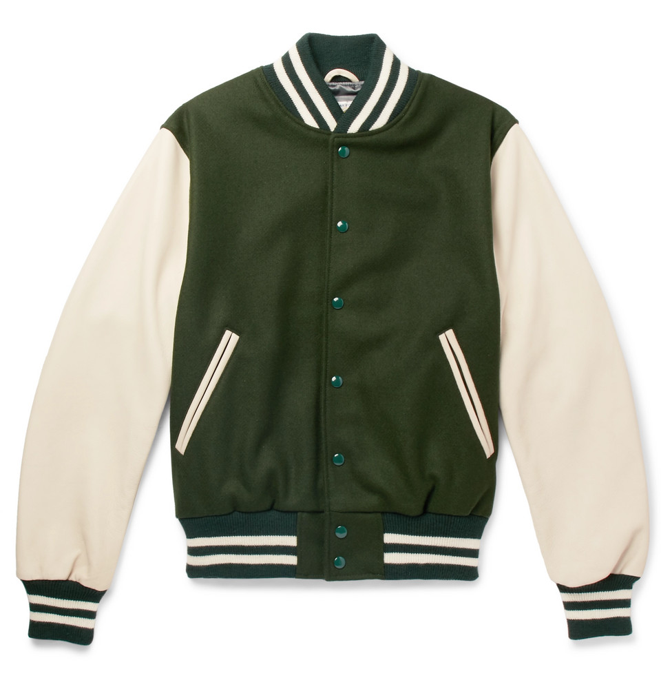 Virgin Wool-blend And Leather Bomber Jacket - Green