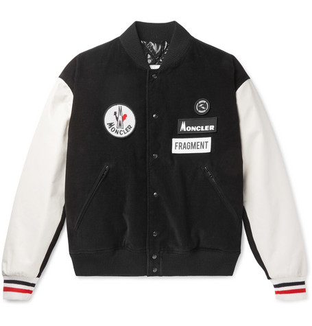 4262e875d9b2 Moncler Genius7 Moncler Fragment Sven Appliquéd Corduroy and Leather Down  Bomber Jacket