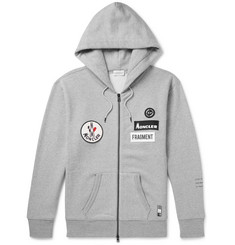 Moncler Genius 7 Moncler Fragment Appliquéd Mélange Loopback Cotton-Jersey Zip-Up Hoodie