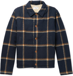 YMC Groundhog Faux Shearling-Lined Checked Virgin Wool Jacket