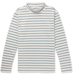 YMC - Striped Cotton-Jersey Mock-Neck T-Shirt