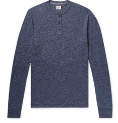 Faherty Mélange Organic Cotton-Blend Jersey Henley T-Shirt