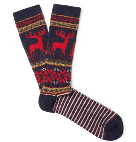Fair Isle Intarsia Knit Socks by Anonymous Ism