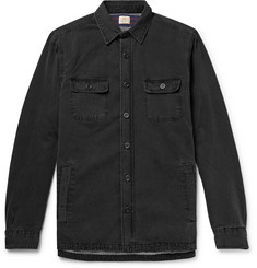 Faherty CPO Flannel-Lined Washed-Denim Shirt Jacket