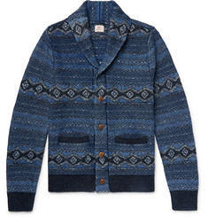 Faherty - Indigo Shore Slim-Fit Shawl-Collar Cotton-Blend Jacquard Cardigan