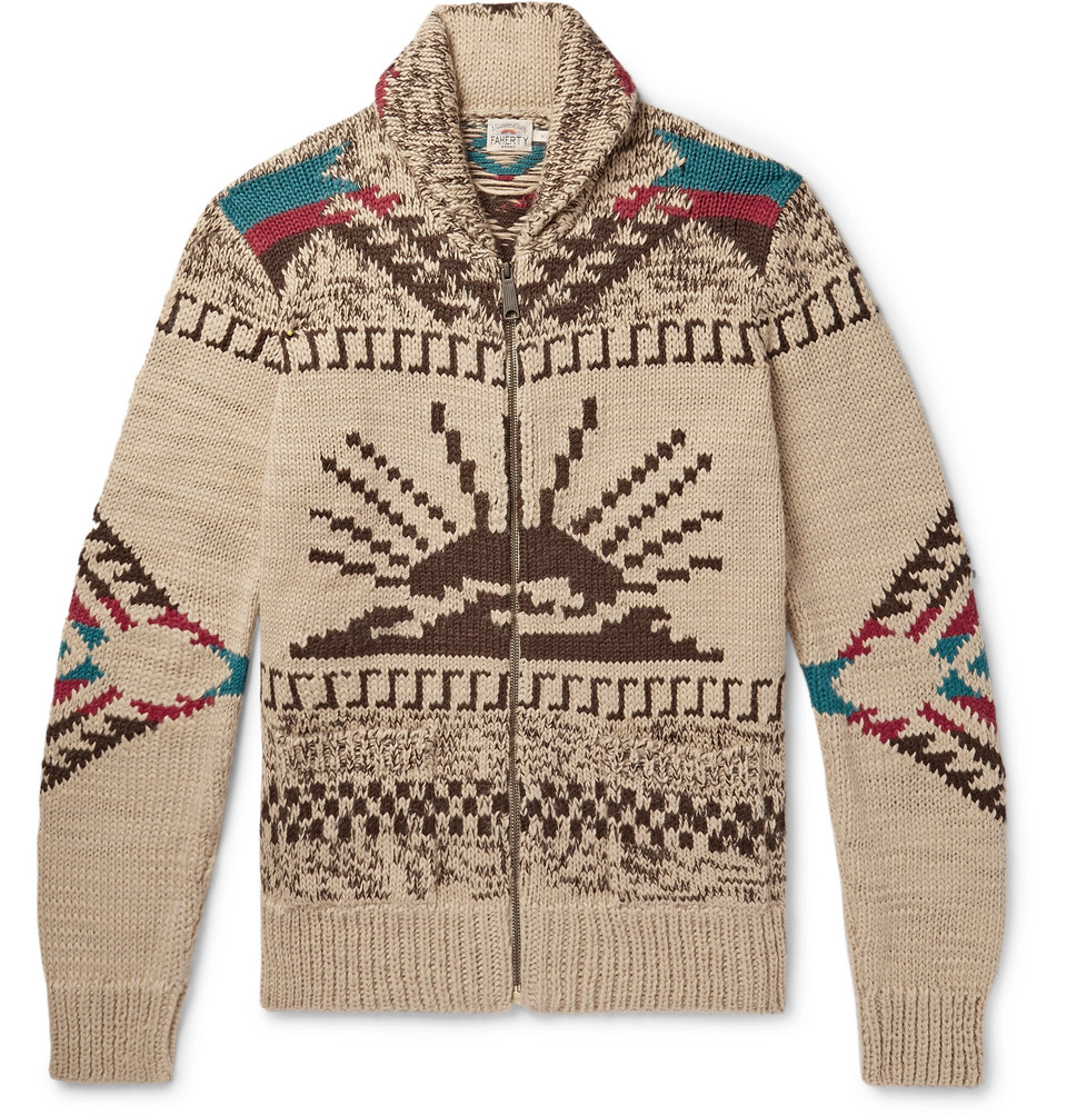 Sun & Waves Shawl-collar Intarsia Alpaca-blend Zip-up Cardigan - Sand