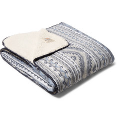 Faherty Jacquard Cotton-Flannel and Sherpa Blanket