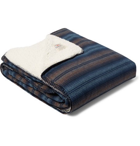 Faherty Aspen Striped Cotton-Flannel and Sherpa Blanket