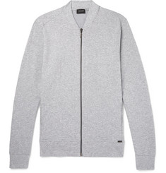 Hanro Mélange Stretch-Cotton Jersey Zip-Up Sweatshirt