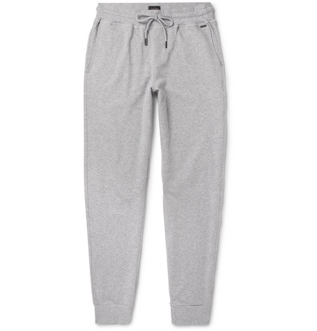 Hanro - Slim-Fit Tapered Mélange Stretch-Cotton Jersey Sweatpants - Gray
