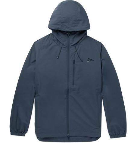 PILGRIM SURF + SUPPLY Packable Water-Repellent Nylon Hooded Jacket in Navy