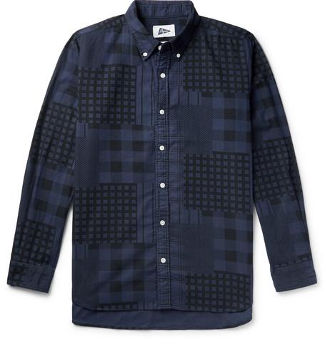 PILGRIM SURF + SUPPLY Button-Down Collar Patchwork-Printed Cotton-Flannel Shirt in Navy