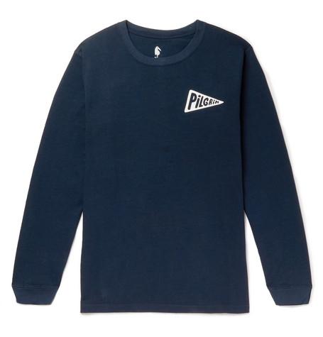 PILGRIM SURF + SUPPLY + Kimou Meyer Printed Cotton-Jersey T-Shirt in Navy