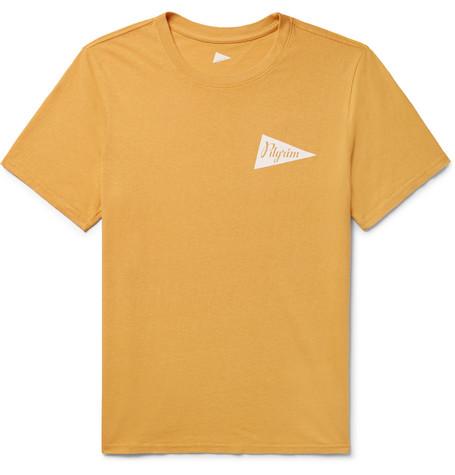 PILGRIM SURF + SUPPLY Logo-Print Cotton-Jersey T-Shirt in Mustard