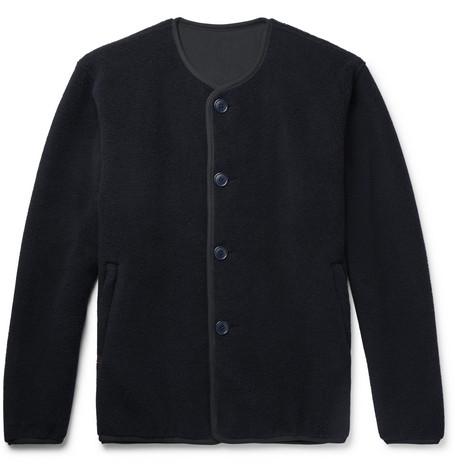 PILGRIM SURF + SUPPLY Collarless Wool-Blend Fleece Jacket in Midnight Blue
