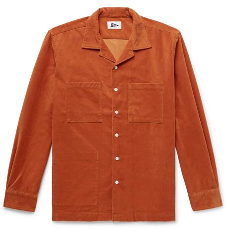 PILGRIM SURF + SUPPLY Camp-Collar Cotton-Blend Corduroy Shirt in Orange