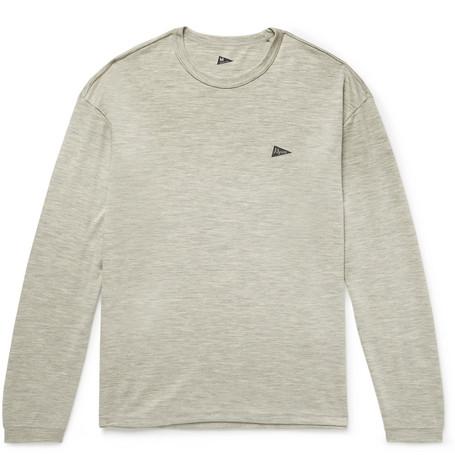 PILGRIM SURF + SUPPLY Logo-Print Mélange Wool-Jersey T-Shirt in Gray