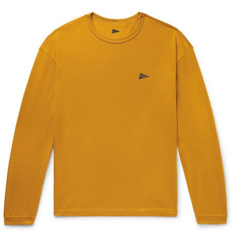PILGRIM SURF + SUPPLY Logo-Print Wool-Jersey T-Shirt in Saffron