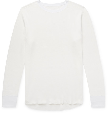 PILGRIM SURF + SUPPLY Wolpe Waffle-Knit Cotton T-Shirt in White