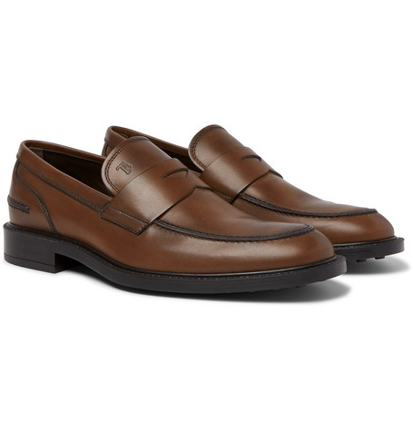 Leather Penny Loafers - Brown