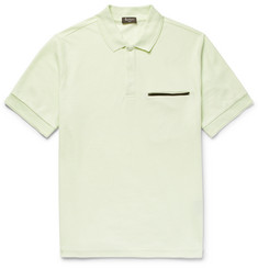 Berluti Leather-Trimmed Cotton and Mulberry Silk-Blend Piqué Polo Shirt