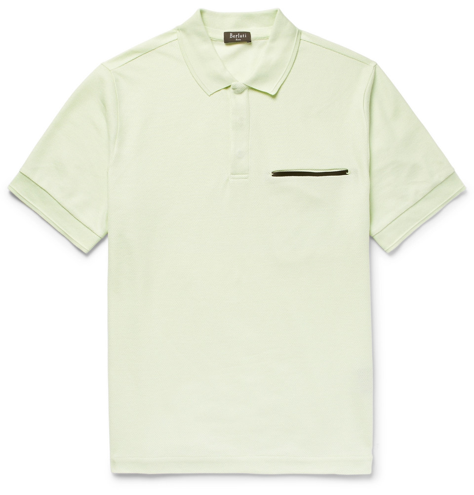 Leather-trimmed Cotton And Mulberry Silk-blend Piqué Polo Shirt - Mint