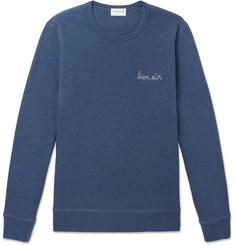 Maison Labiche Embroidered Mélange Fleece-Back Cotton-Jersey Sweatshirt