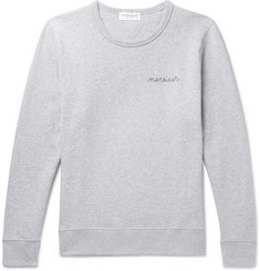 Maison Labiche Embroidered Mélange Cotton-Jersey Sweatshirt
