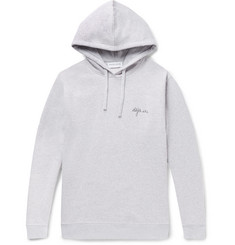 Maison Labiche Embroidered Mélange Fleece-Back Cotton-Jersey Hoodie