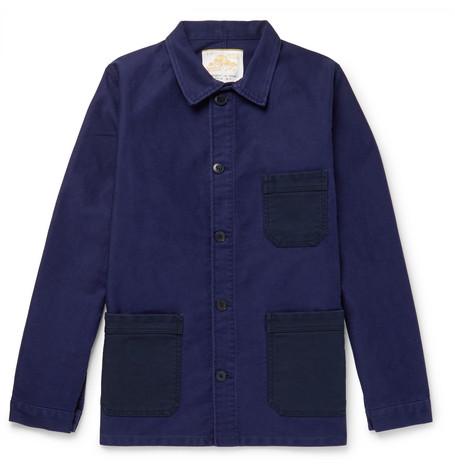 Two Tone Cotton Moleskin Chore Jacket by Le Mont Saint Michel