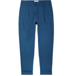 Universal Works Tapered Pleated Slub Cotton and Linen-Blend Trousers