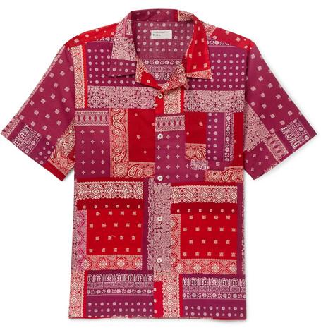 UNIVERSAL WORKS Patchwork Printed Cotton Shirt