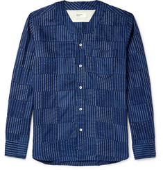Universal Works Grandad-Collar Panelled Indigo-Dyed Cotton Shirt
