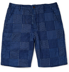Universal Works Wide-Leg Panelled Indigo-Dyed Cotton Shorts