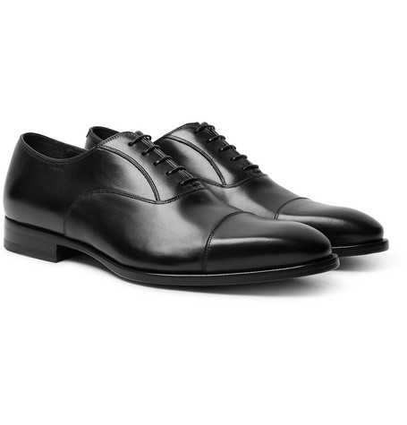 Elegant City Leather Oxford Shoes - Black