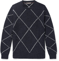Loro Piana Slim-Fit Baby Cashmere-Jacquard Sweater